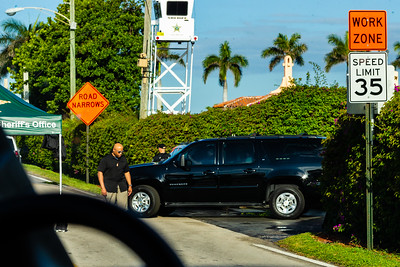 President Donald J. Trump's motorcade leaves Mar-a-Lago to head to Trump International Golf Club on Sunday,  March 31, 2019. [JOSEPH FORZANO/palmbeachpost.com]