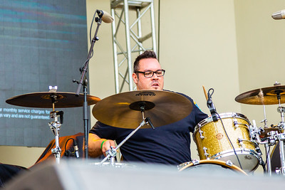 Rene Rivera, drummer of Lochness Monster performing at SunFest, May 2, 2019. [JOSEPH FORZANO]