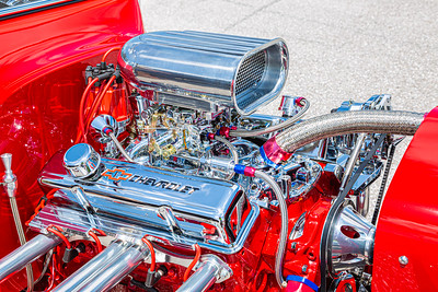 The engine of the 1923 Chevy T-Bucket, owned by Chuck West of Jupiter, at Palm Beach International Raceway on Saturday, May 25, 2019. [JOSEPH FORZANO/palmbeachpost.com]