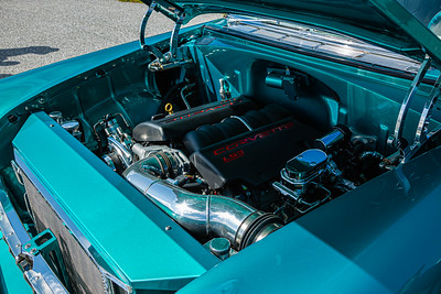 The engine compartment of a  1955 210 Sedan Delivery, owned by Mike Kelly of Cape Coral at the Super Chevy Show at Palm Beach International Raceway in Jupiter on Saturday, May 25, 2019.  [JOSEPH FORZANO/palmbeachpost.com]