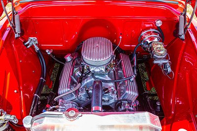 The engine compartment of the 1957 Chevy 3100 Side-Step Pickup owned by Ron Esposito of Palm Beach Gardens at the Super Chevy Show at Palm Beach International Raceway on Saturday, May 25, 2019. [JOSEPH FORZANO/palmbeachpost.com]