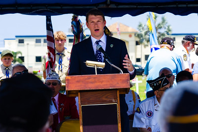 Boynton Beach Mayor Steven B. Grant speaks to those assembled during the Memorial Day Observance at Boynton Beach Memorial Park on Sunday, May 26, 2019. [JOSEPH FORZANO/palmbeachpost.com]