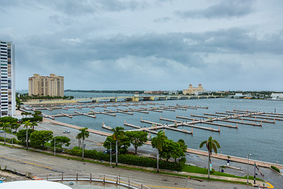 Looking down on an empty Palm Harbor Marina on Flagler Drive in downtown West Palm Beach,   ahead of Hurricane Dorian side-swiping Florida's east coast on Labor Day, Monday, September 2, 2019. [JOSEPH FORZANO/palmbeachpost.com]