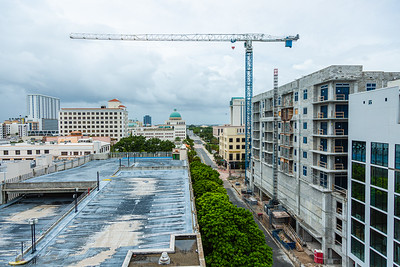 Looking down on a deserted Banyan Blvd., in downtown West Palm Beach, ahead of Hurricane Dorian side-swiping Florida's east coast on Labor Day, Monday, September 2, 2019. [JOSEPH FORZANO/palmbeachpost.com]