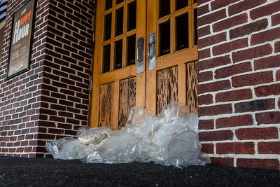Home-made sand bags block the front doors to Boston's on the Beach in Delray Beach, on Tuesday, September 3, 2019 as Hurricane Dorian begins to slide up north, just off Florida's east coast. [JOSEPH FORZANO/palmbeachpost.com]
