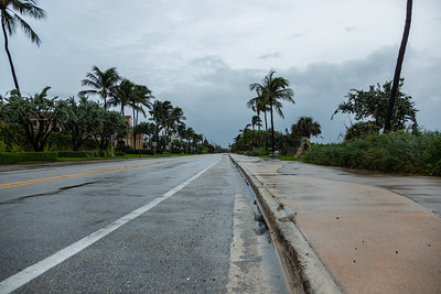 A1A at Atlantic Avenue in Delray Beach is devoid of cars and people on Tuesday, September 3, 2019 as Hurricane Dorian begins to slide up north, just off Florida's east coast. [JOSEPH FORZANO/palmbeachpost.com]
