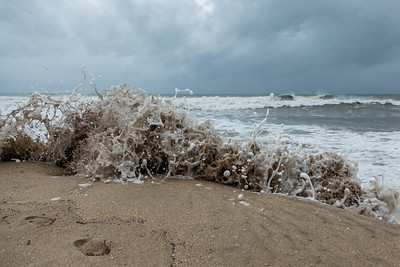 Breaking waves erode away parts of the beach at Oceanfront Park in Boynton Beach on Tuesday, September 3, 2019, as Hurricane Dorian begins to slide up north, just off Florida's east coast. [JOSEPH FORZANO/palmbeachpost.com]
