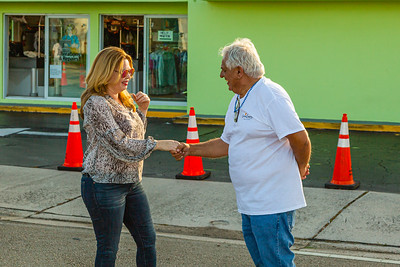Kathleen Walter, Director of Communications for the City of West Palm Beach and Las Mur, co-founder of the Latin Quarter of West Palm Beach chat before the 1st Annual Latin Quarter WPB 2019 Hispanic Heritage Month Parade, on Saturday, October 5, 2019. [JOSEPH FORZANO/palmbeachpost.com]