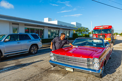 Scott Lublin of Ragtop Motorcars polishes the 1965 Ford Galaxie 500 that will serve as the Grand Marshall's car for the 1st Annual Latin Quarter WPB 2019 Hispanic Heritage Month Parade, on Saturday, October 5, 2019. [JOSEPH FORZANO/palmbeachpost.com]