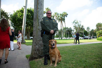 Palm Beach County Sheriff Deputy Luis Ledbetter and his K9 partner Tucker at The Church of Bethesda-by-the-Sea in Palm Beach for the Blessing of the Animals service, on Sunday, October 6, 2019.  [JOSEPH FORZANO/palmbeachpost.com]