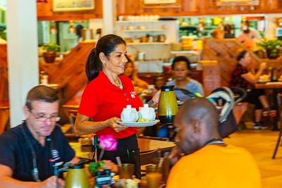 Teresa Zerilli bring hot coffee to customers at John G's on Wednesday, October 9, 2019. Zerilli has been a server at John G's for fifteen years.  [JOSEPH FORZANO/palmbeachpost.com]