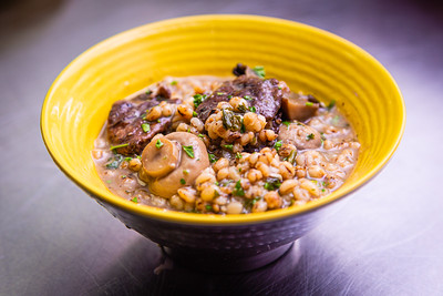 Wild mushrooms and toasted barley, a side dish at Flybird Chargrill Chicken in Delray on Wednesday, October 16, 2019. [JOSEPH FORZANO/palmbeachpost.com]