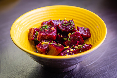Roasted beets with lemon and dill, a side dish at Flybird Chargrill Chicken in Delray on Wednesday, October 16, 2019. [JOSEPH FORZANO/palmbeachpost.com]