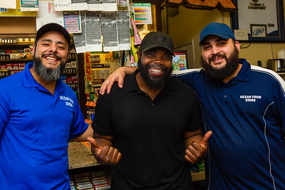 Mohammad Baker (left), Carlton Williams (center) and Matt  Muhaisen at the Ocean Food Mart in Boynton Beach on Saturday, November 23, 2019. Baker and Mushaisen heard the accident and called 911 and stayed with Williams until paramedics arrived.[JOSEPH FORZANO/palmbeachpost.com]