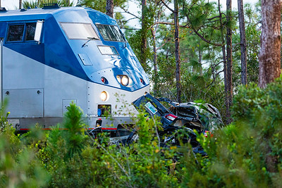 An Amtrak train collided with a SVU at the entrance of J.W. Corbett Wildlife Management Area in West Palm Beach on Saturday, November 23, 2019. One adult and two children were killed. The train crossing, does not have crossing gates or flashing lights.  [JOSEPH FORZANO/palmbeachpost.com]
