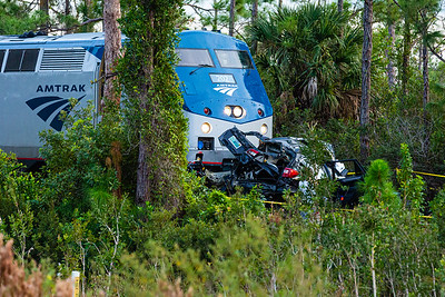 An Amtrak train collided with a SUV at the entrance of J.W. Corbett Wildlife Management Area in West Palm Beach on Saturday, November 23, 2019. One adult and two children were killed. The train crossing, does not have crossing gates or flashing lights.  [JOSEPH FORZANO/palmbeachpost.com]