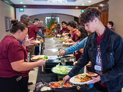 Students and Palm Beach Post staffers get some lunch at the High School Journalism Workshop, hosted by the Palm Beach Post at the Airport Hilton in West Palm Beach on Thursday, December 5, 2019. [JOSEPH FORZANO/palmbeachpost.com]