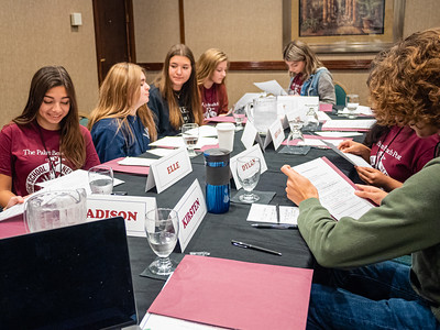 Students from various Palm Beach County high schools participate in the High School Journalism Workshop, hosted by the Palm Beach Post at the Airport Hilton in West Palm Beach on Thursday, December 5, 2019. [JOSEPH FORZANO/palmbeachpost.com]