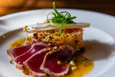 Tuna Mee Grob an appetizer with vermicelli noodles, scallions, citrus vinaigrette from City Cellar in West Palm Beach, FL on December 6, 2019. City Cellar is turning 20 years old.[JOSEPH FORZANO/palmbeachpost.com]