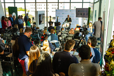The media is gathered at the Brightline station in downtown West Palm Beach on Monday, December 9, 2019 to hear various speakers talk about the impact of Super Bowl LIV to Palm Beach. [JOSEPH FORZANO/palmbeachpost.com]