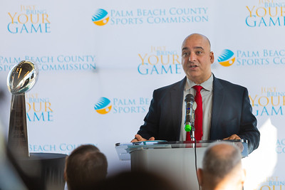 Oneil Khosa, CEO of Bahamas Paradise Cruise Lines, speaks to the media about the impact of Super Bowl LIV in Palm Beach at a press conference at the Brightline station in downtown West Palm Beach on Monday, December 9, 2019. The Vince Lombardi trophy, which goes to the winning Super Bowl Team, sits on a pedestal to the left. [JOSEPH FORZANO/palmbeachpost.com]