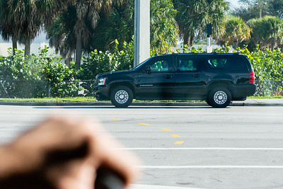 President Donald J. Trump's motorcade travels along Summit Blvd., on its way to Mar-a-Lago after leaving Trump International Golf Club in West Palm Beach on Saturday, January 04, 2020. [JOSEPH FORZANO/palmbeachpost.com]
