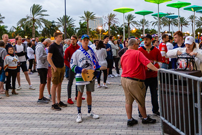 Florida Panther fans and Vancouver Canuck fans wait for the gates to open before the Panthers hosted the Vancouver Canucks at the BB&T Center in Sunrise on January 9, 2020. The Panthers would go on to beat the Canucks 5-2. [JOSEPH FORZANO/palmbeachpost.com]