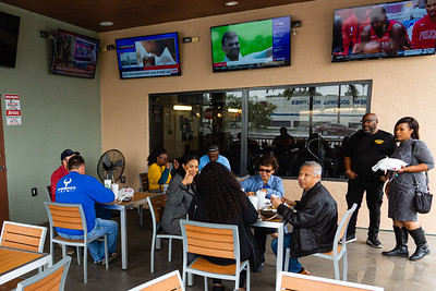 The outdoor seating area at McCray's Backyard Bar-B-Q & Seafood in Mangonia Park on Thursday, January 23, 2020. [JOSEPH FORZANO/palmbeachpost.com]