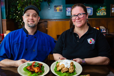 Executive Chef Kauwela Perreira (left) and General Manager Erin Townsend from Tree's Wings in Royal Palm Beach on Thursday, January 23, 2020. [JOSEPH FORZANO/palmbeachpost.com]