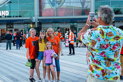 Flyers fans take a picture on the Jet Blue Tarmac at the BB&T Center in Sunrise, FL on Thursday, February 13, 2020 where the Florida Panthers hosted the Philadelphia Flyers. The Flyers went on to beat the Panthers 5-2. [JOSEPH FORZANO/palmbeachpost.com]