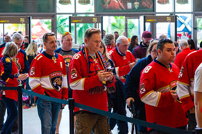 Panther fans make their way into the BB&T Center in Sunrise, FL on Thursday, February 13, 2020 where the Florida Panthers hosted the Philadelphia Flyers. The Flyers went on to beat the Panthers 5-2. [JOSEPH FORZANO/palmbeachpost.com]