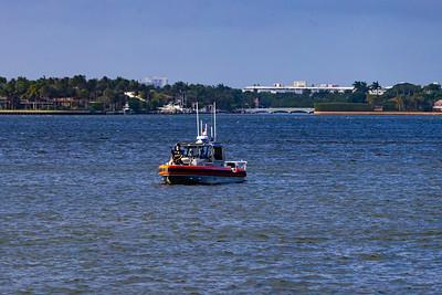 A Coast Guard Boat patrols the Intracoastal Waterway  on February 15, 2020. [JOSEPH FORZANO/palmbeachpost.com]