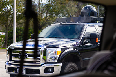 One of the vehicles in the motorcade pulls up next to the press van, as President Trumps motorcade travels to Trump International Golf Club in West Palm Beach, FL,  on Saturday, February 15, 2020. [JOSEPH FORZANO/palmbeachpost.com]