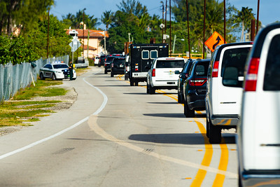 President Trump's motorcade travels east on Southern Blvd. , on its way to Mar-a-Lago in Palm Beach, FL, on Saturday, February 15, 2020. [JOSEPH FORZANO/palmbeachpost.com]