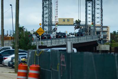 President Trump's motorcade passes over the temporary Southern Blvd. Bridge on its way to Trump International Golf Course in West Palm Beach, FL, on Saturday, February 15, 2020. [JOSEPH FORZANO/palmbeachpost.com]
