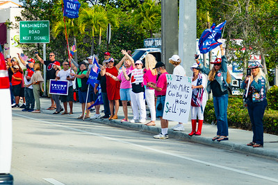 Supporters of President Trump wave flags and cheer as the motorcade drives by on Southern Blvd. in West Palm Beach, FL on Saturday, February 15, 2020. [JOSEPH FORZANO/palmbeachpost.com]