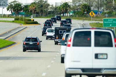 President Trump's motorcade travels south on Congress Avenue  on its way to Trump International Golf Course in West Palm Beach, FL, on Saturday, February 15, 2020. [JOSEPH FORZANO/palmbeachpost.com]