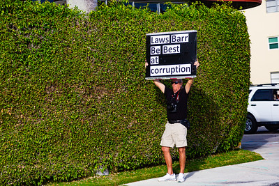 A protestor holds a sign as President Trump's motorcade drives by on Southern Blvd. in West Palm Beach, FL on Saturday, February 15, 2020. [JOSEPH FORZANO/palmbeachpost.com]
