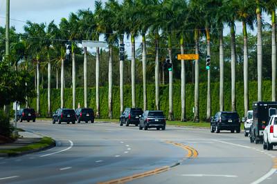 President Trump's motorcade heads west on Summit Blvd. on its way to Trump International Golf Course in West Palm Beach, FL, on Saturday, February 15, 2020. [JOSEPH FORZANO/palmbeachpost.com]
