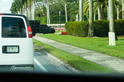 President Trump's motorcade turns into Trump International Golf Club in West Palm Beach, FL, on Saturday, February 15, 2020.
