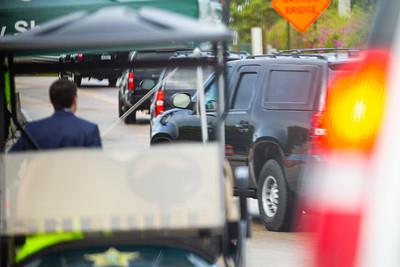 President Trump's motorcade leaves Mar-a-Lago on its way to the Trump International Golf Club in West Palm Beach, FL, on Saturday, February 15, 2020. [JOSEPH FORZANO/palmbeachpost.com]