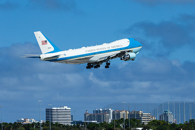 Air Force One lifts off from Palm Beach International Airport on Sunday, February 16, 2020. [JOSEPH FORZANO/palmbeachpost.com]