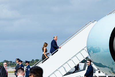 President Donald Trump and First Lady Melania Trump board Air Force One for a short trip to Daytona, on Sunday, February 16, 2020.  The President will be the Grand Marshall for the Daytona 500. [JOSEPH FORZANO/palmbeachpost.com]