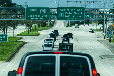 President Trump's motorcade travels west on Southern Blvd. on its way to Palm Beach International Airport in West Palm Beach, FL, on Sunday, February 16, 2020. [JOSEPH FORZANO/palmbeachpost.com]
