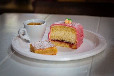 An espresso, a lemon square and a princess tort, all served at Patria Cafe, located at 319 Clematis St., Suite 101, West Palm Beach, FL on Thursday, February 20, 2020. [JOSEPH FORZANO/palmbeachpost.com]
