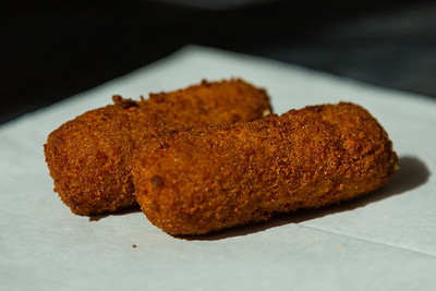 A pair of croquettes, on the menu at Cortadito Cuban Cafe, located at 444 W. Railroad Avenue, West Palm Beach, FL., on Monday, February 24, 2020. [JOSEPH FORZANO/palmbeachpost.com]