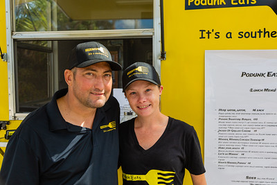 Dario and Angela Grear, owners of the Podunk Eats food truck, located on Ellison Wilson Road, across from Bert Wilders Park in Juno Beach, FL on Tuesday, February 25, 2020. The Podunk Eats food truck, owned by Angela and Dario Grear, specializes in southern comfrort food. [JOSEPH FORZANO/palmbeachpost.com]