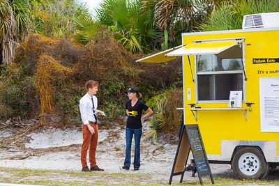 Palm Beach Post reporter Sam Howard interviews Podunk Eats food truck owner Angela Grear on ellison Wilson Road, across from Bert Wilders Park in Juno Beach, FL on Tuesday, February 25, 2020. [JOSEPH FORZANO/palmbeachpost.com]