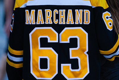 A Bruins fan sports a Brad Marchand jersey on the Jet Blue Tarmac at the BB&T Center in Sunrise, FL on Thursday, March 5, 2020 where the Florida Panthers hosted the Boston Bruins. The Bruins went on to beat the Panthers 2-1 in overtime. [JOSEPH FORZANO/palmbeachpost.com]