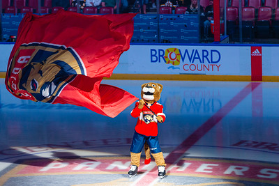 Stanley C. Panther waves a large Panther flag during at center ice before the start of the game at the BB&T Center in Sunrise, FL on Thursday, March 5, 2020 where the Florida Panthers hosted the Boston Bruins. The Bruins went on to beat the Panthers 2-1 in overtime. [JOSEPH FORZANO/palmbeachpost.com]